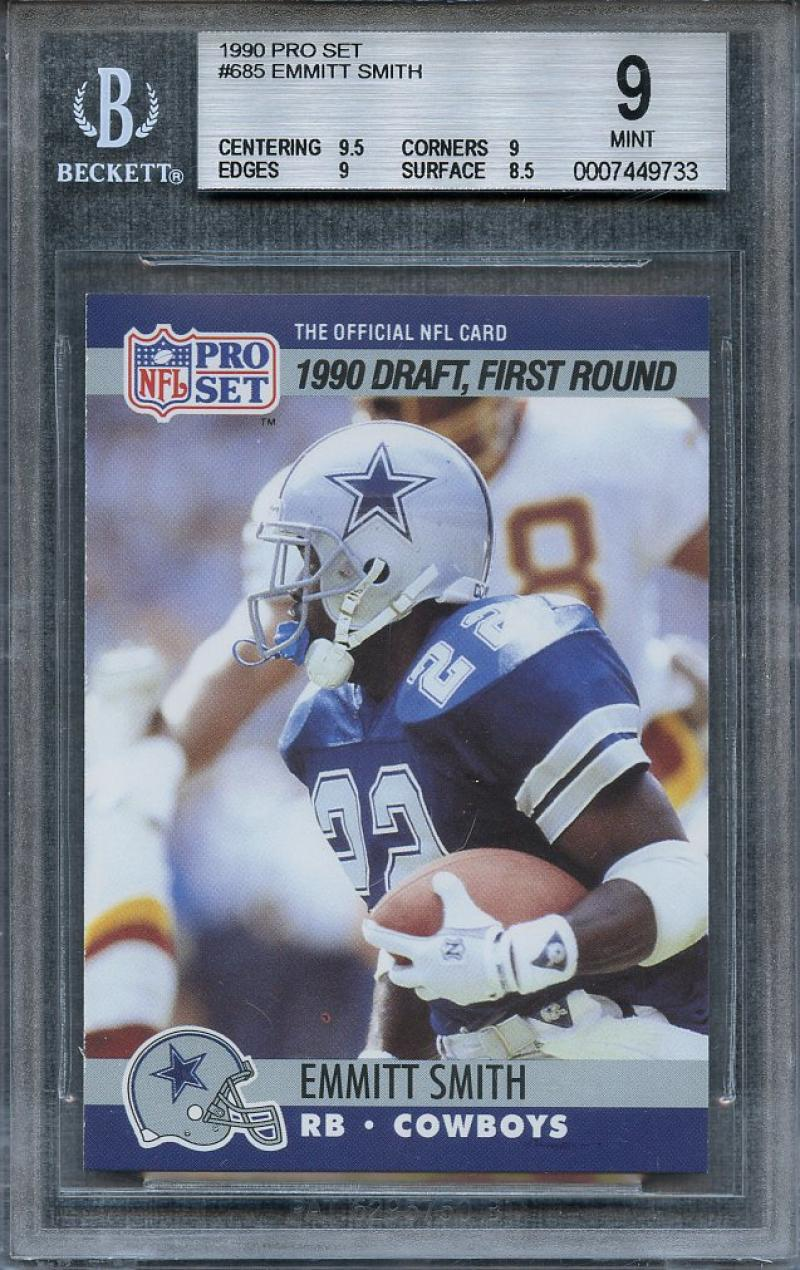Details About 1990 Pro Set 685 Emmitt Smith Dallas Cowboys Rookie Card Bgs 9 95 9 9 85