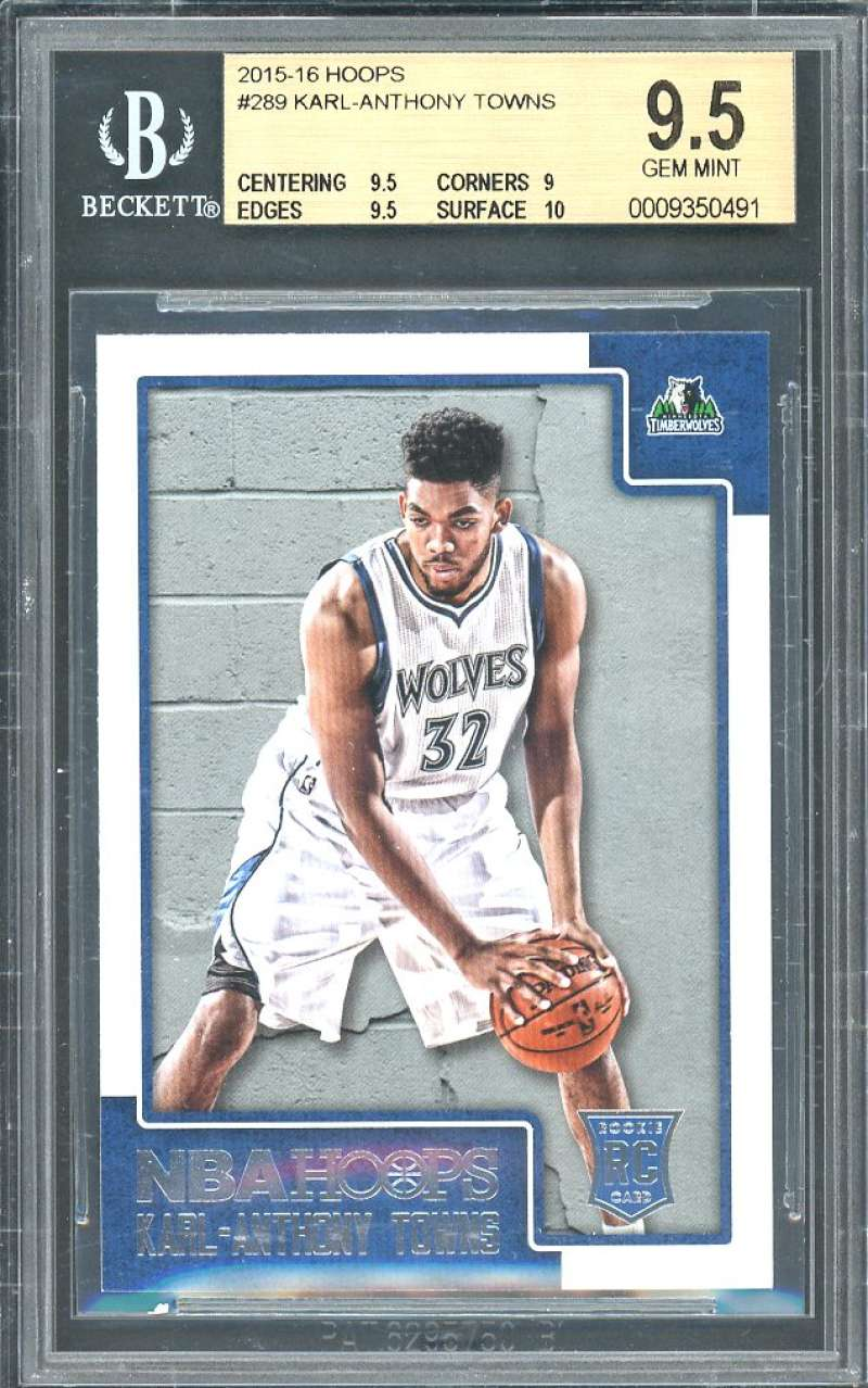 2015-16 hoops #289 KARL-ANTHONY TOWNS timberwolves rookie BGS 9.5 (9.5 9 9.5 10)
