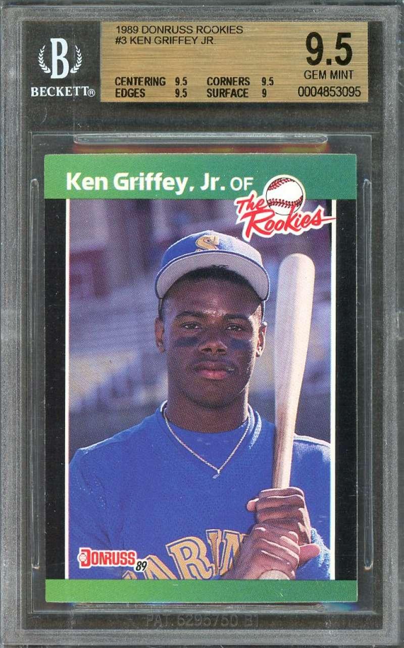 Details About 1989 Donruss Rookies 3 Ken Griffey Jr Reds Rookie Card Bgs 95 95 95 95 9