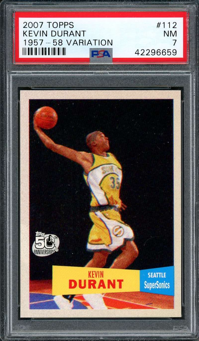 Details About 2007 08 Topps 1957 58 Variation 112 Kevin Durant Okc Thunder Rookie Card Psa 7