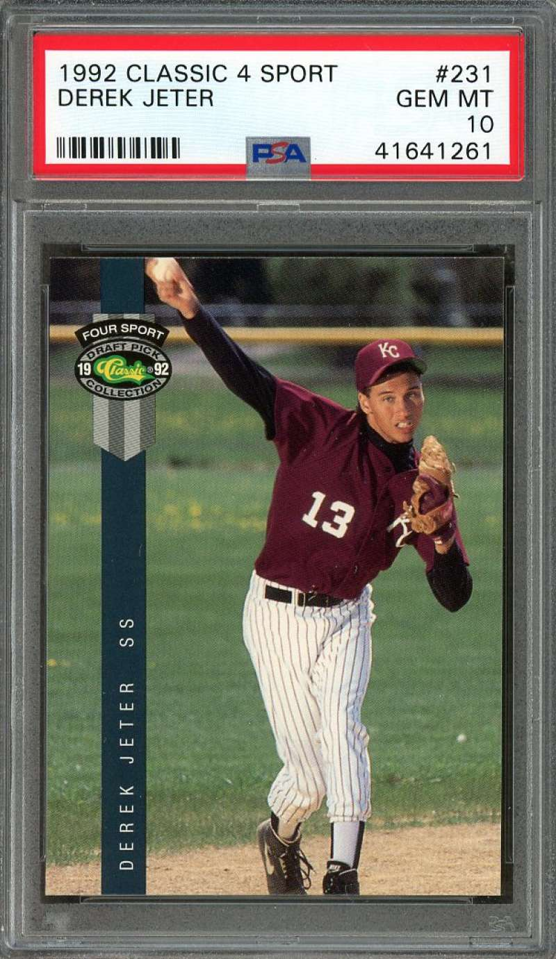 Details About 1992 Classic 4 Sport 231 Derek Jeter New York Yankees Rookie Card Psa 10