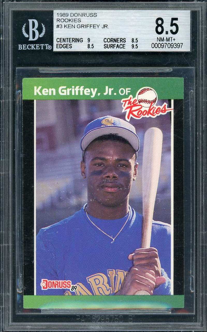 Details About 1989 Donruss Rookies 3 Ken Griffey Mariners Rookie Card Bgs 85 9 85 85 95
