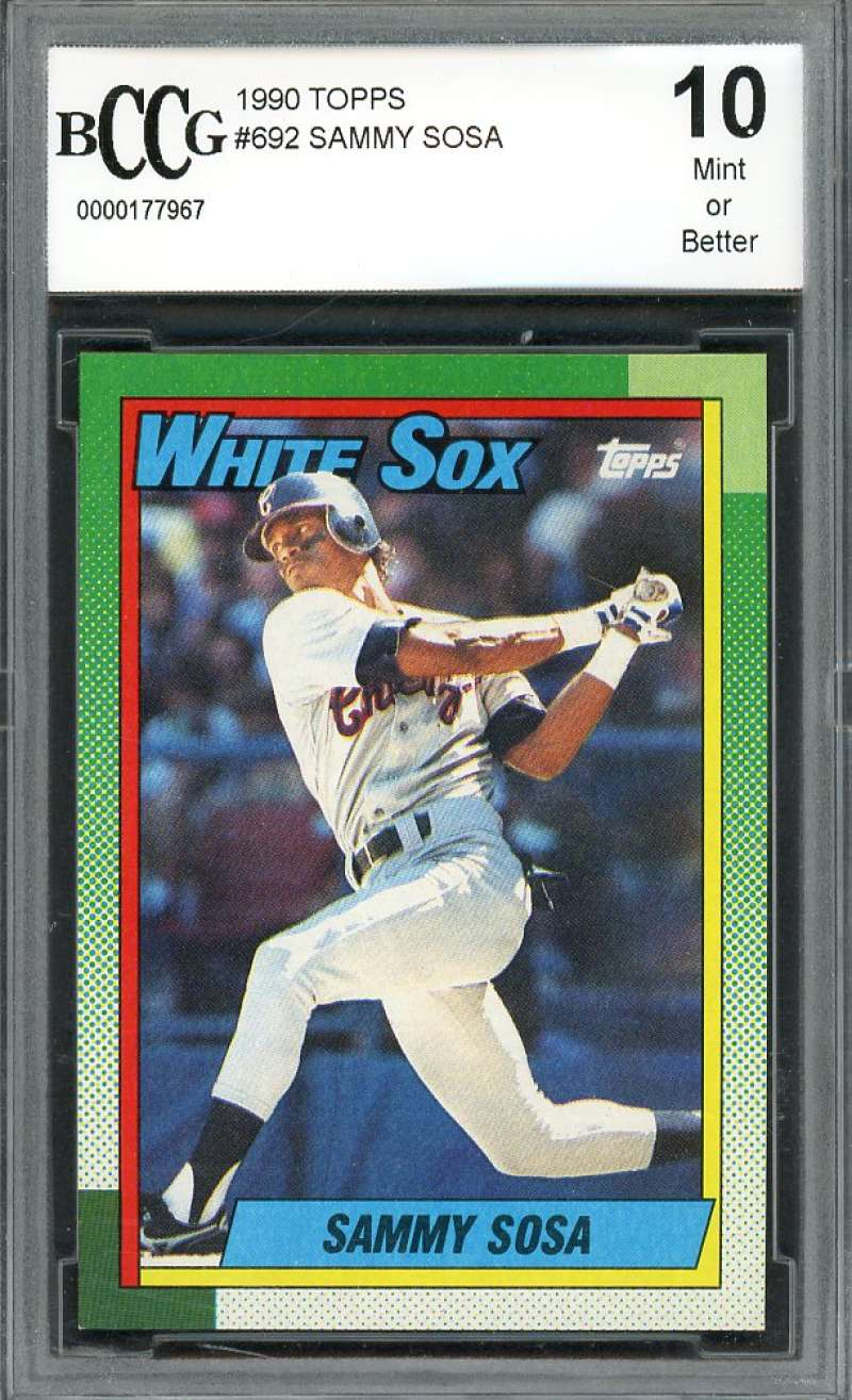 1990 topps #692 SAMMY SOSA chicago white sox rookie card BGS BCCG 10