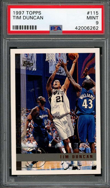 1997-98 topps #115 TIM DUNCAN san antonio spurs rookie card PSA 9