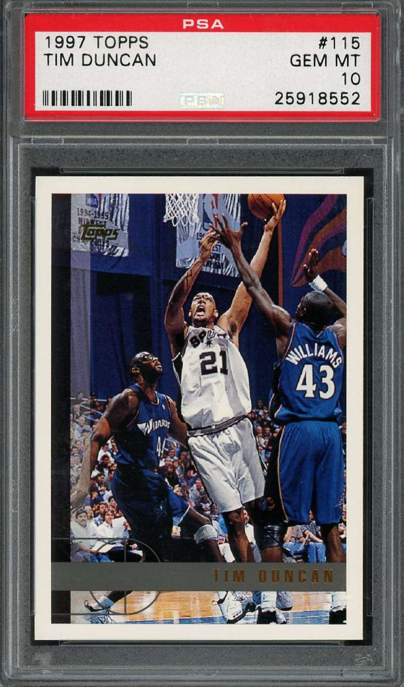 1997-98 topps #115 TIM DUNCAN san antonio spurs rookie card PSA 10