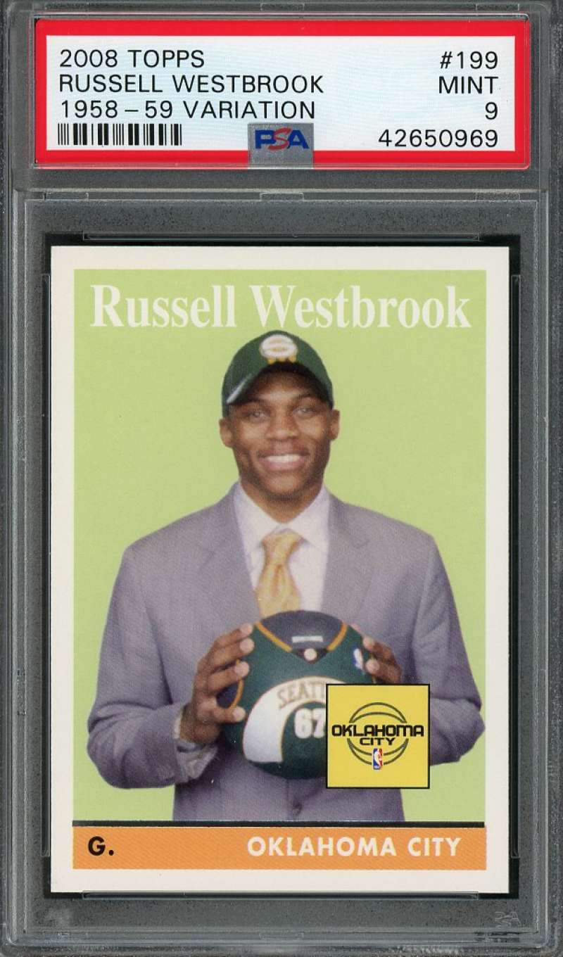 2008-09 topps 1958-59 variation #199 RUSSELL WESTBROOK thunder rookie card PSA 9