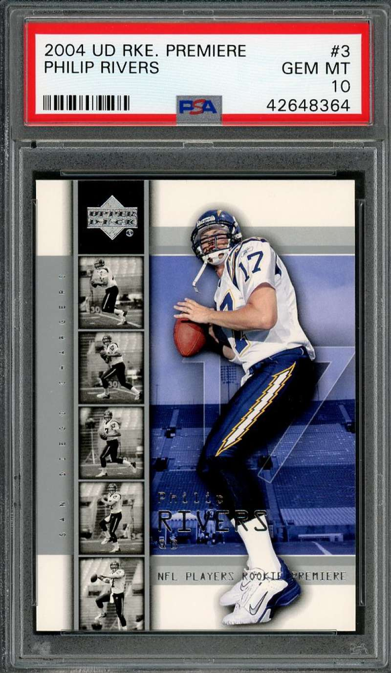 2004 ud rke premiere #3 PHILIP RIVERS san diego chargers rookie card PSA 10