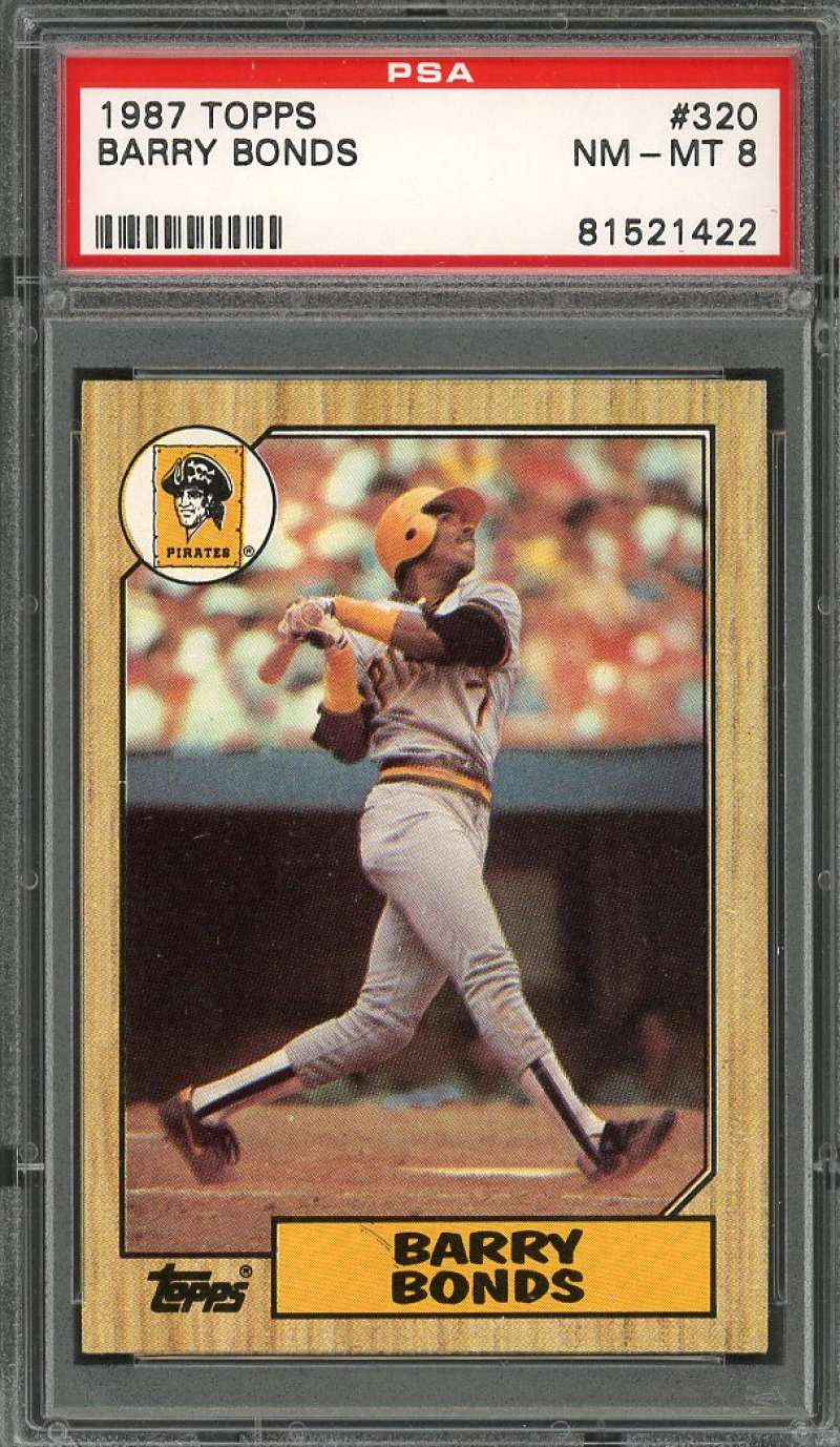 Details About 1987 Topps 320 Barry Bonds Pittsburgh Pirates Rookie Card Psa 8