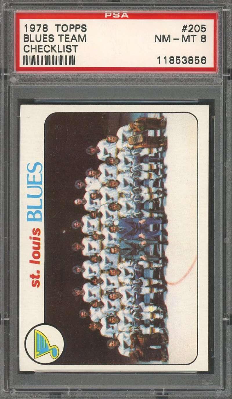 1978 topps #205 ST LOUIS BLUES team checklist PSA 8