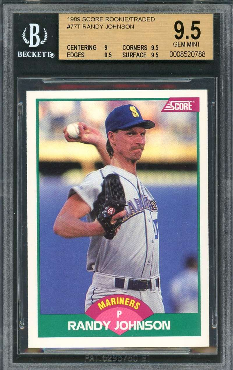 Details About 1989 Score Rookietraded 77t Randy Johnson Rookie Card Bgs 95 9 95 95 95