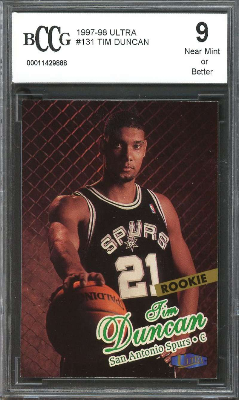 1997-98 ultra #131 TIM DUNCAN san antonio spurs rookie card BGS BCCG 9