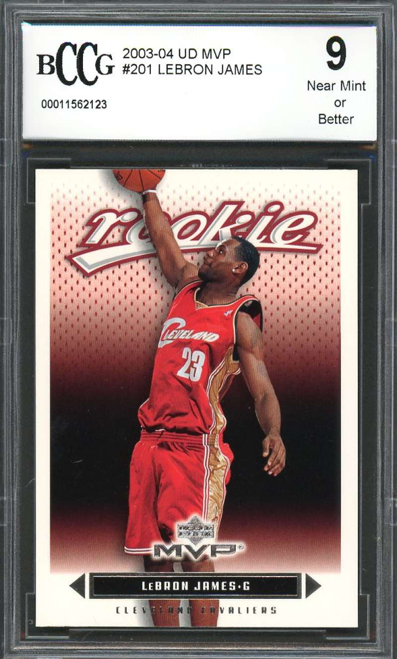 2003-04 ud mvp #201 LEBRON JAMES cleveland cavaliers rookie card BGS BCCG 9