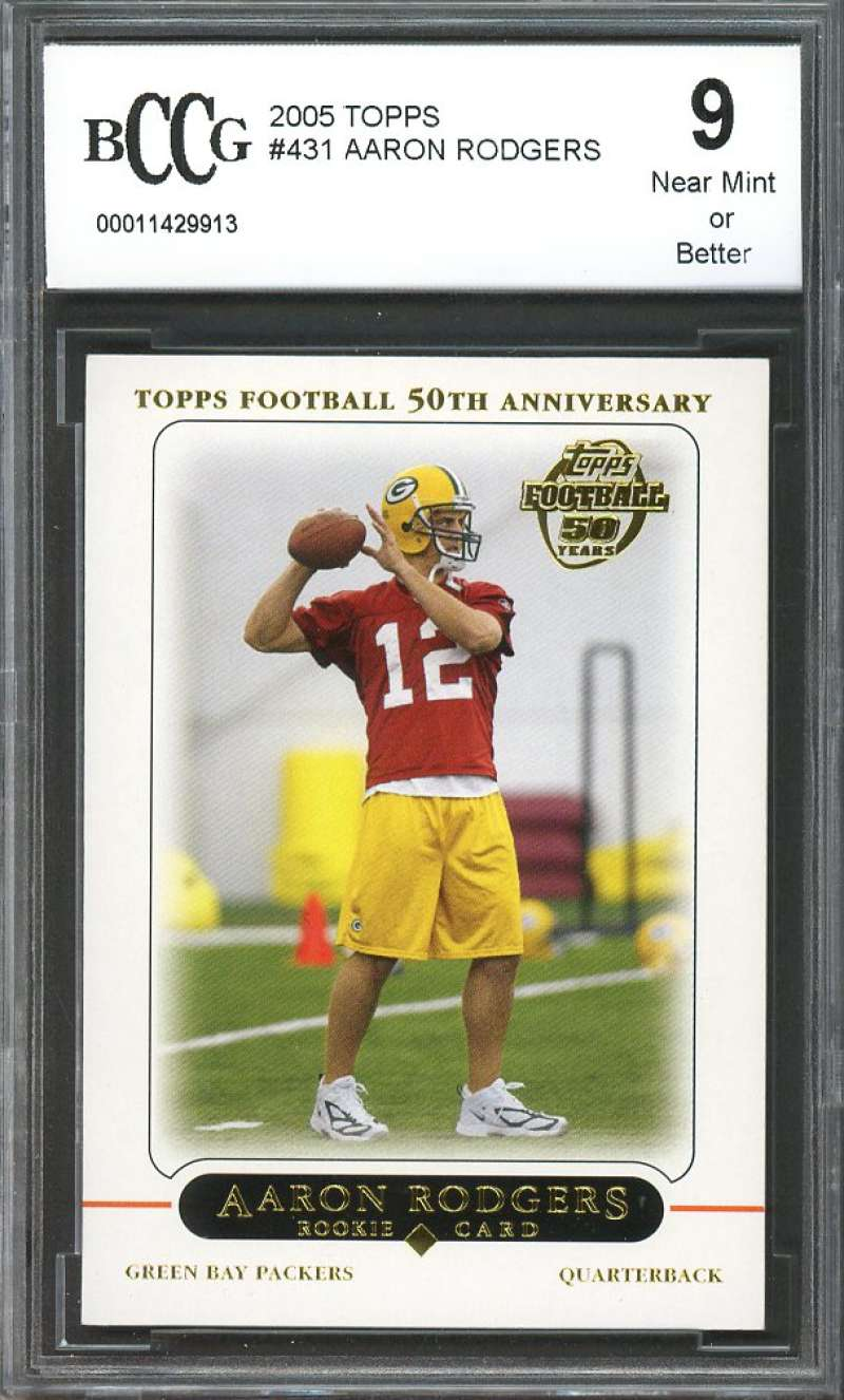 2005 topps #431 AARON RODGERS packers rookie card (50-50 CENTERED) BGS BCCG 9