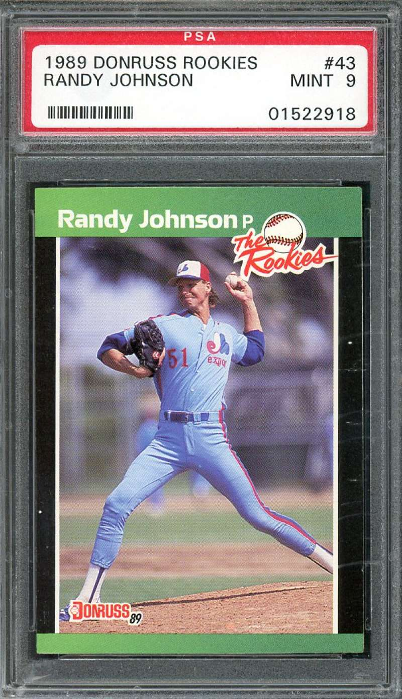 1989 donruss rookies #43 RANDY JOHNSON seattle mariners rookie card PSA 9