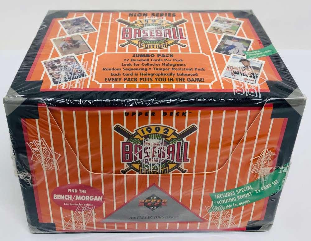 1992 Upper Deck High Series Baseball Cards Jumbo Box of Unopened Packs