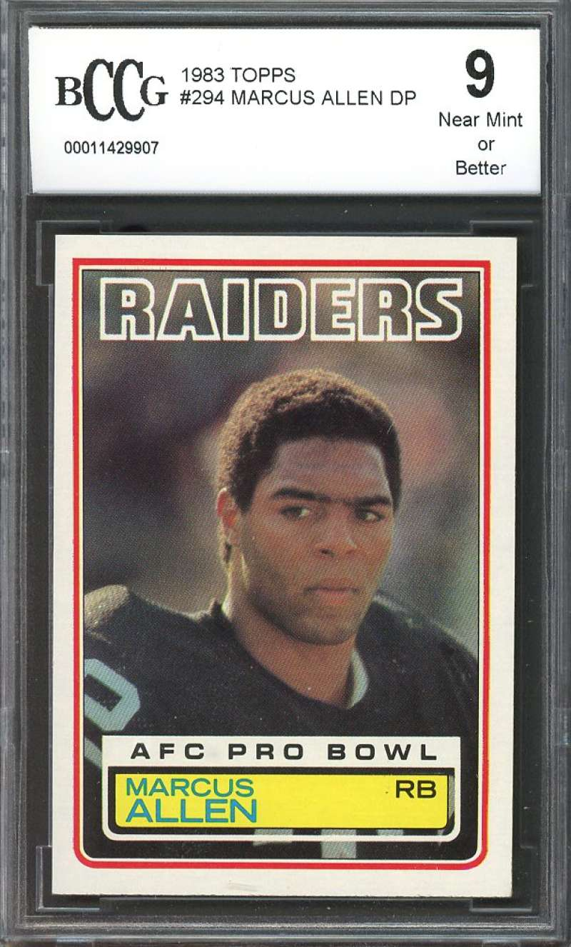 1983 topps #294 MARCUS ALLEN oakland raiders rookie card BGS BCCG 9