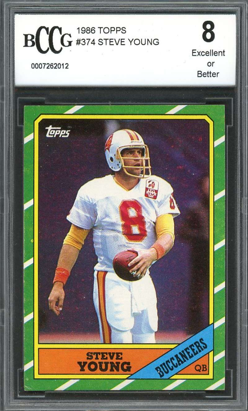 1986 topps #374 STEVE YOUNG san francisco 49ers rookie card BGS BCCG 8