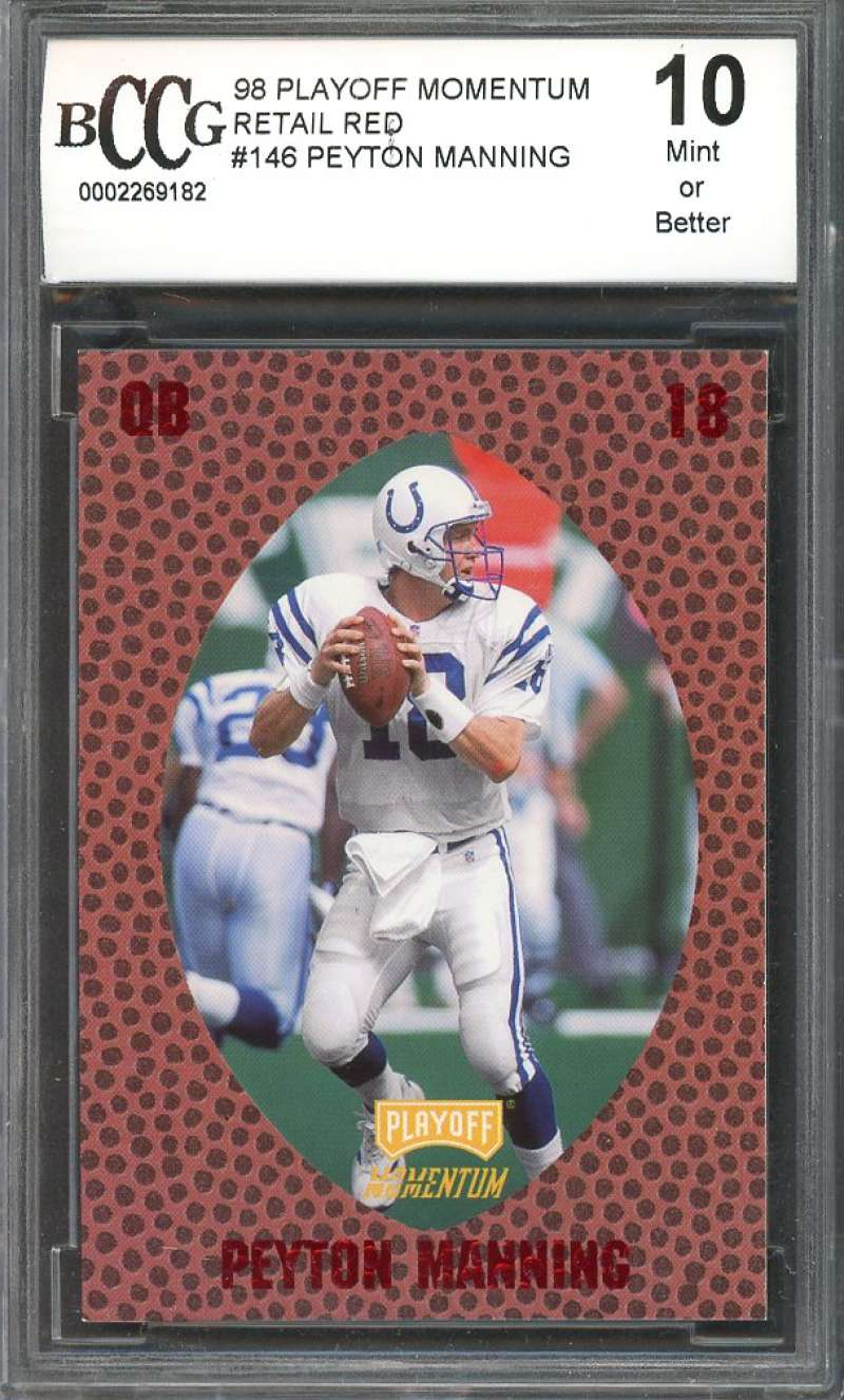 1998 playoff momentum retail red #146 PEYTON MANNING colts rookie BGS BCCG 10