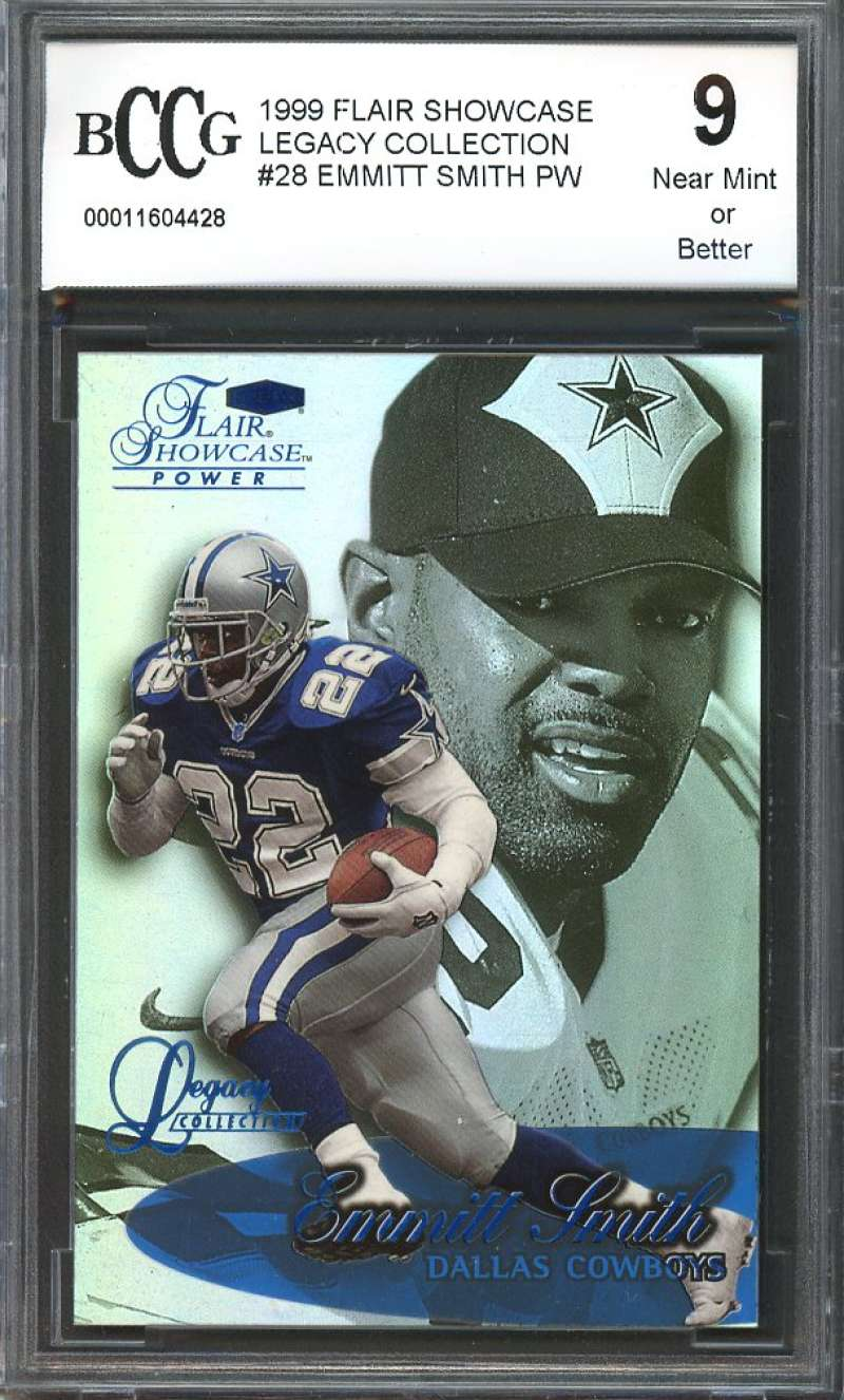 1999 flair showcase legacy collection #28 EMMITT SMITH dallas cowboys BGS BCCG 9