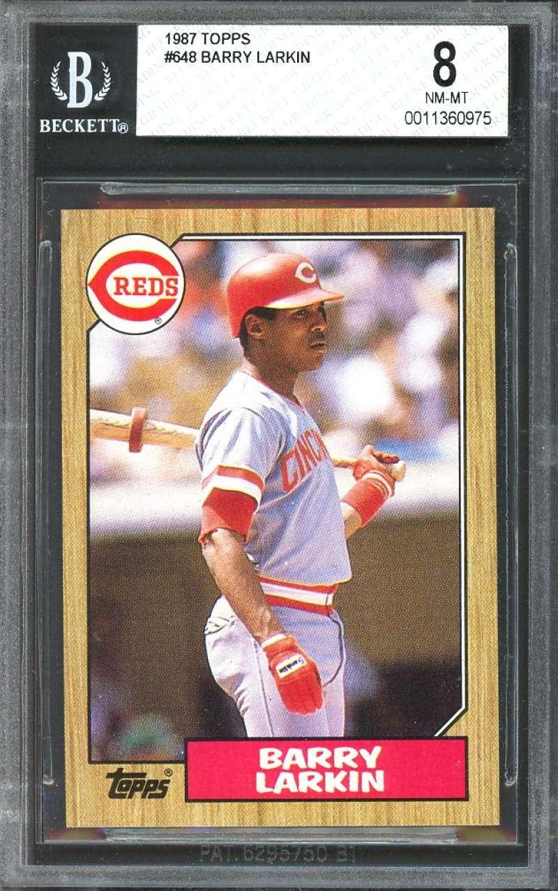 1987 topps #648 BARRY LARKIN cincinnati reds rookie card BGS 8