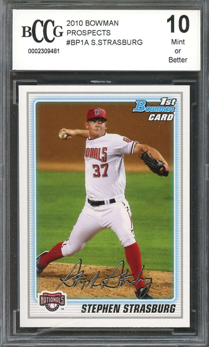 2010 bowman prospects #bp1a STEPHEN STRASBURG nationals rookie card BGS BCCG 10