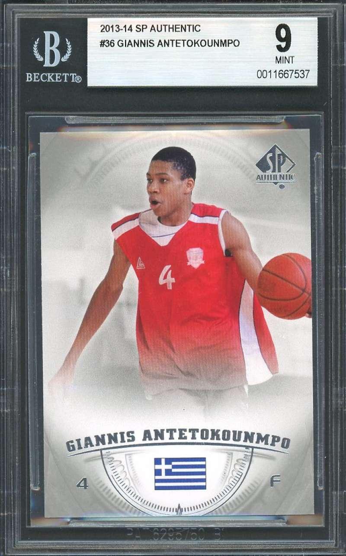 2013-14 sp authentic #36 GIANNIS ANTETOKOUNMPO milwaukee bucks rookie card BGS 9