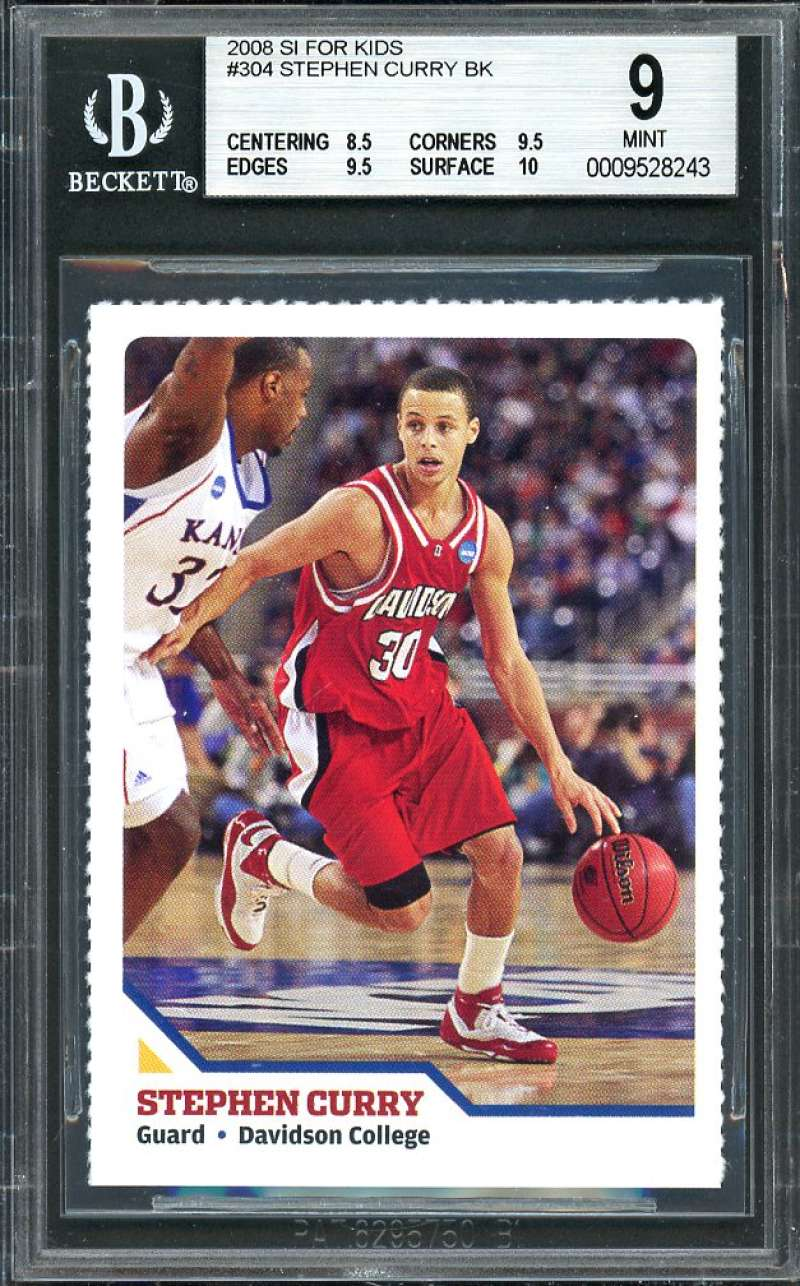 Stephen Curry Rookie Card 2008 Si For Kids #304 Warriors BGS 9 (8.5 9.5 9.5 10)