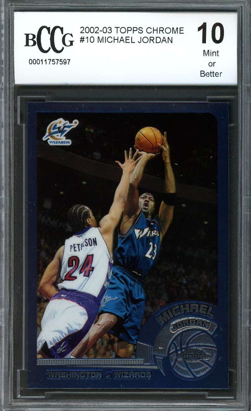 Michael Jordan Card 2002-03 Topps Chrome #10 Chicago Bulls BGS BCCG 10