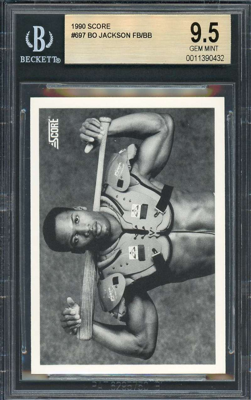 Bo Jackson Football/Baseball Card 1990 Score #697  Kansas City Royals BGS 9.5