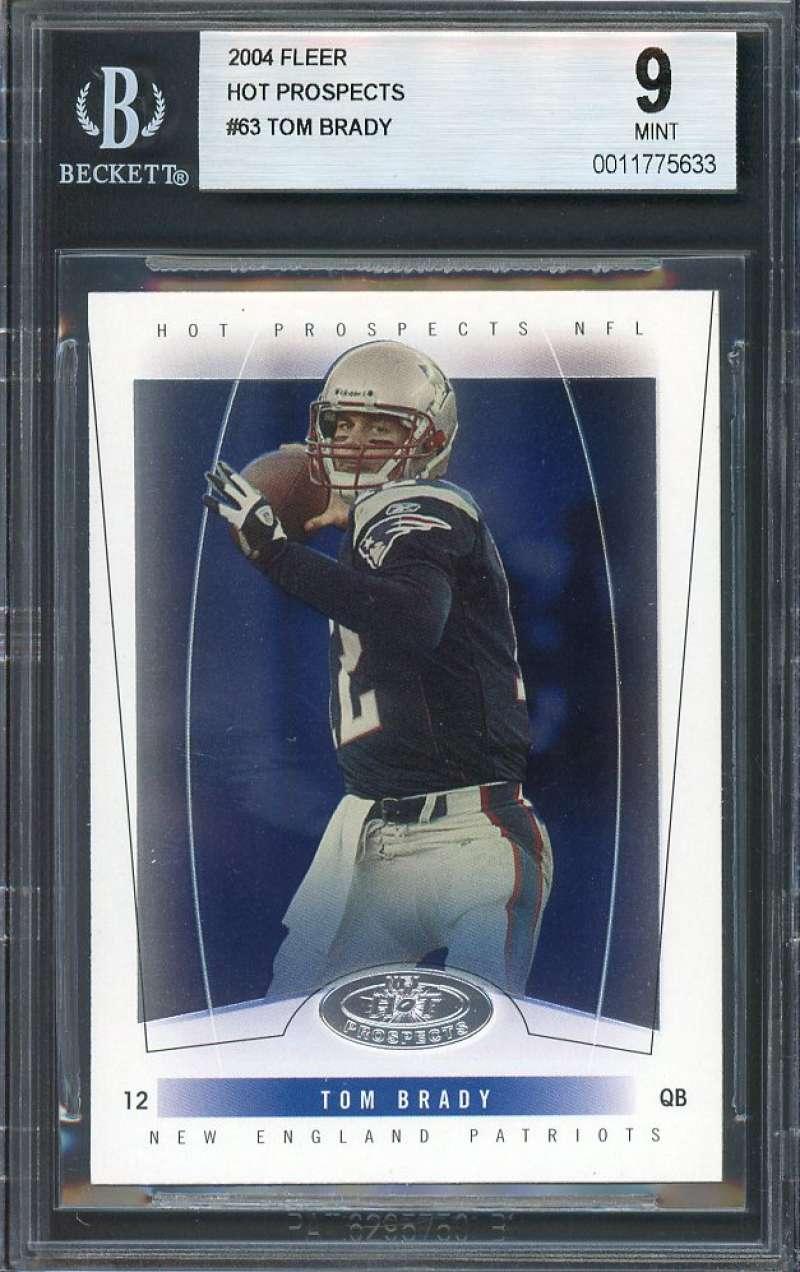 Tom Brady Card 2004 Fleer Hot Prospects #63 New England Patriots BGS 9