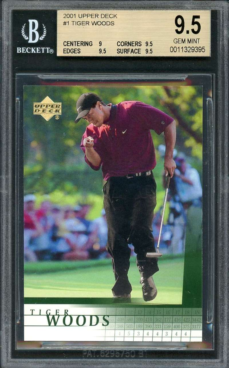 Tiger Woods Rookie Card 2001 Upper Deck #1 Golf BGS 9.5 (9 9.5 9.5 9.5)