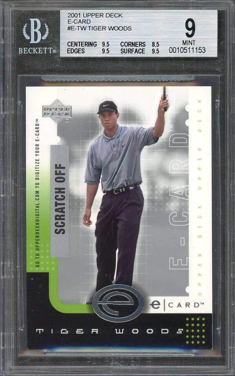 Tiger Woods Rookie Card 2001 Upper Deck E-Card #E-Tw BGS 9 (9.5 8.5 9.5 9.5)