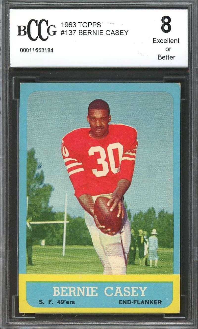 Bernie CaseyRookie Card 1963 Topps #137 san francisco 49ers BGS BCCG 8