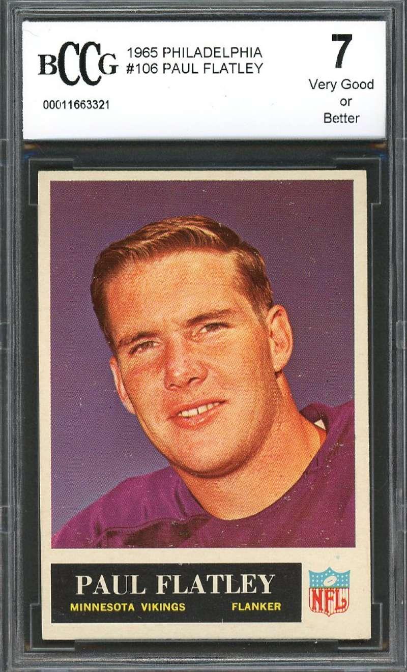 Paul Flatley Card 1965 Philadelphia #106 Minnesota Vikings BGS BCCG 7
