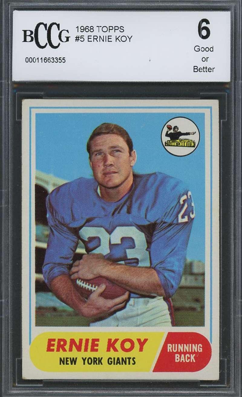 Ernie Koy Rookie Card 1968 Topps #5 New York Giants BGS BCCG 6