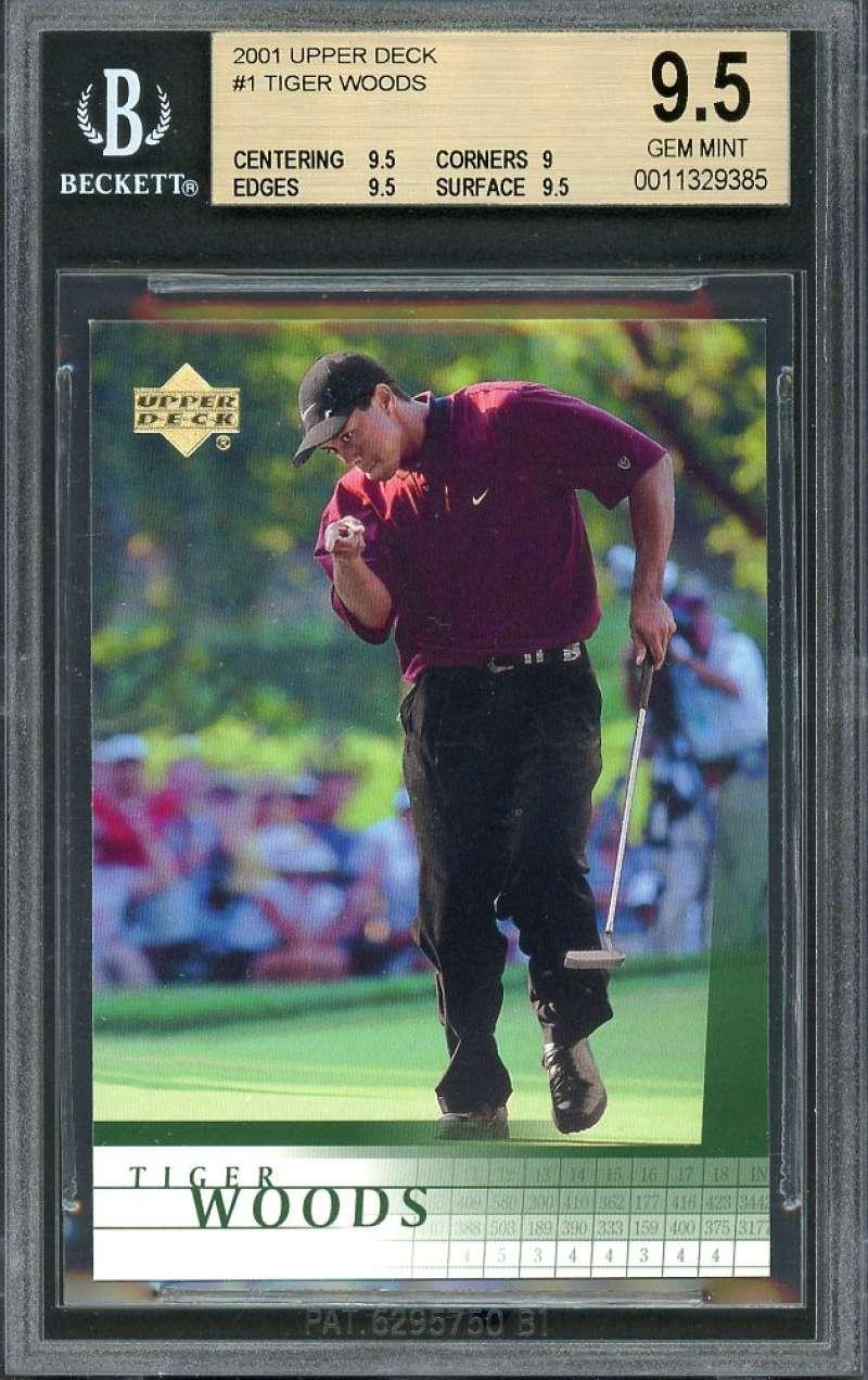 Tiger Woods Rookie Card 2001 Upper Deck #1 Golf BGS 9.5 (9.5 9 9.5 9.5)