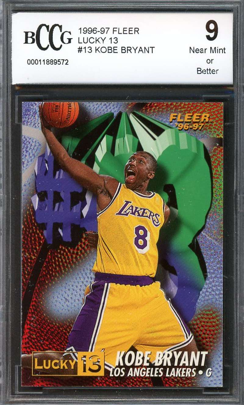 Kobe Bryant Rookie Card Los Angeles Lakers 1996-97 Fleer Lucky 13 BGS BCCG 9