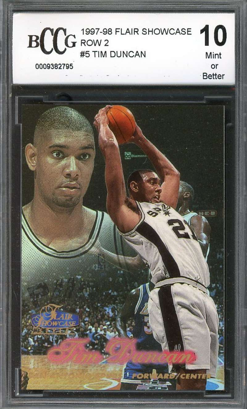 Tim Duncan Rookie Card 1997-98 Flair Showcase Row 2 #5 Spurs BGS BCCG 10