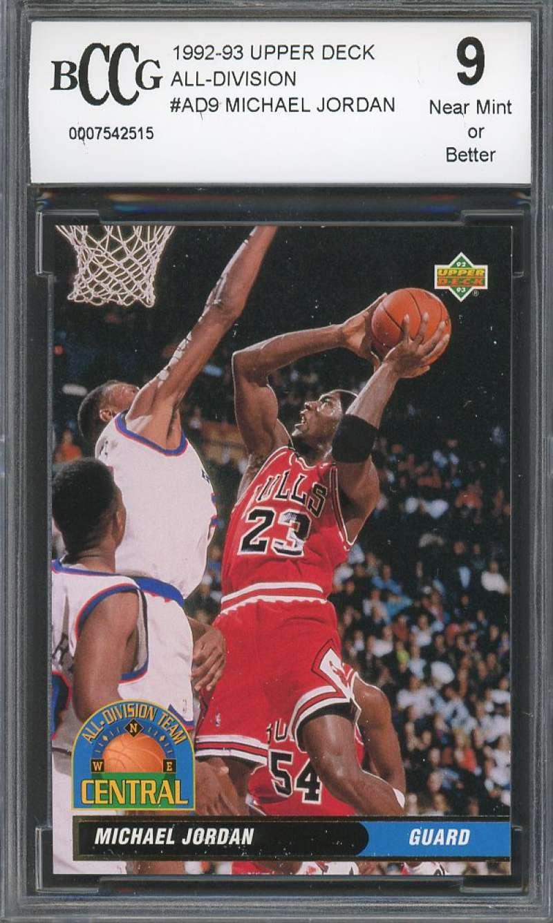 Michael Jordan 1992-93 Upper Deck All-Division #Ad9 Chicago Bulls BGS BCCG 9