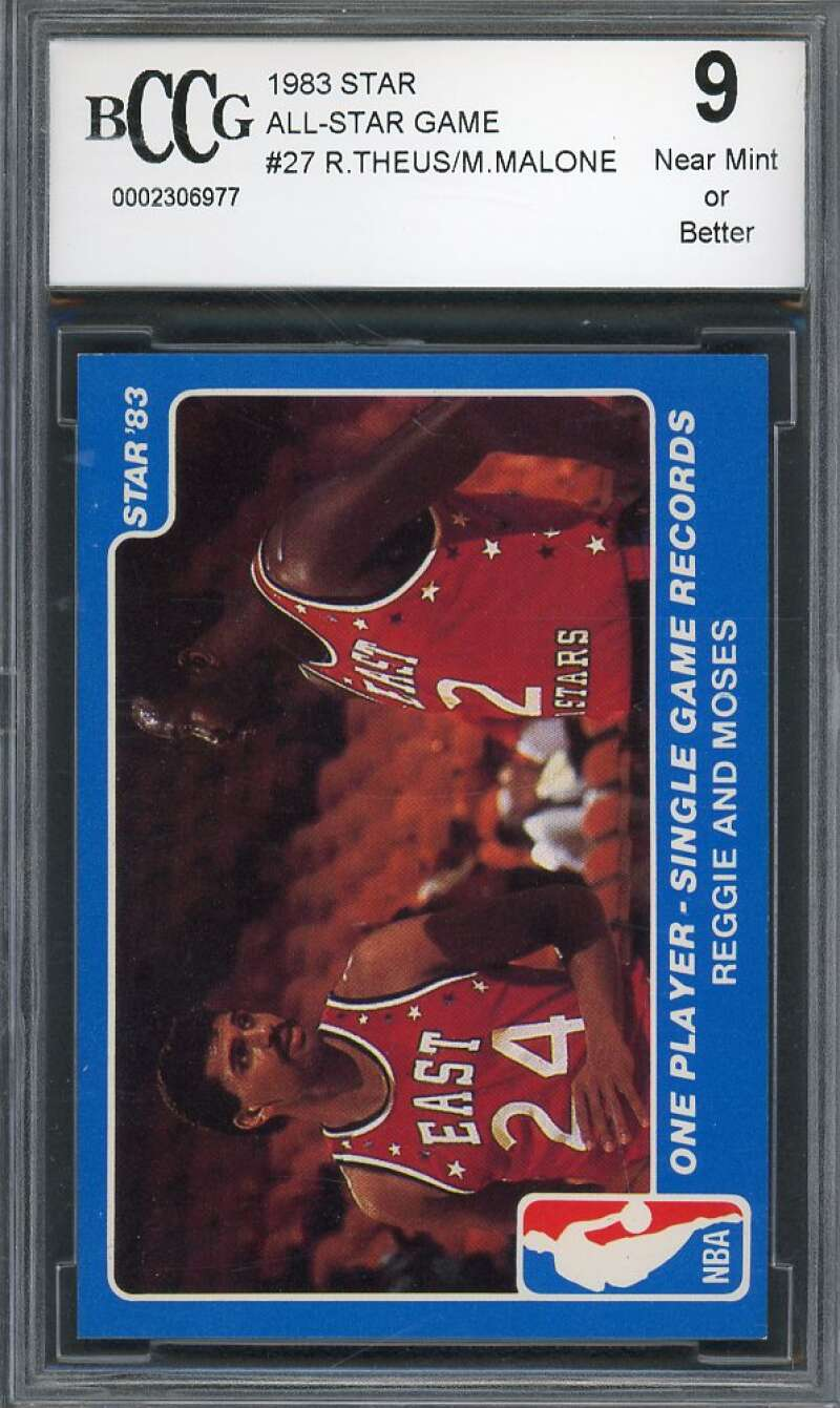 Reggie Theus / Moses Malone Card 1983 Star All-Star Game #27 76ers BGS BCCG 9