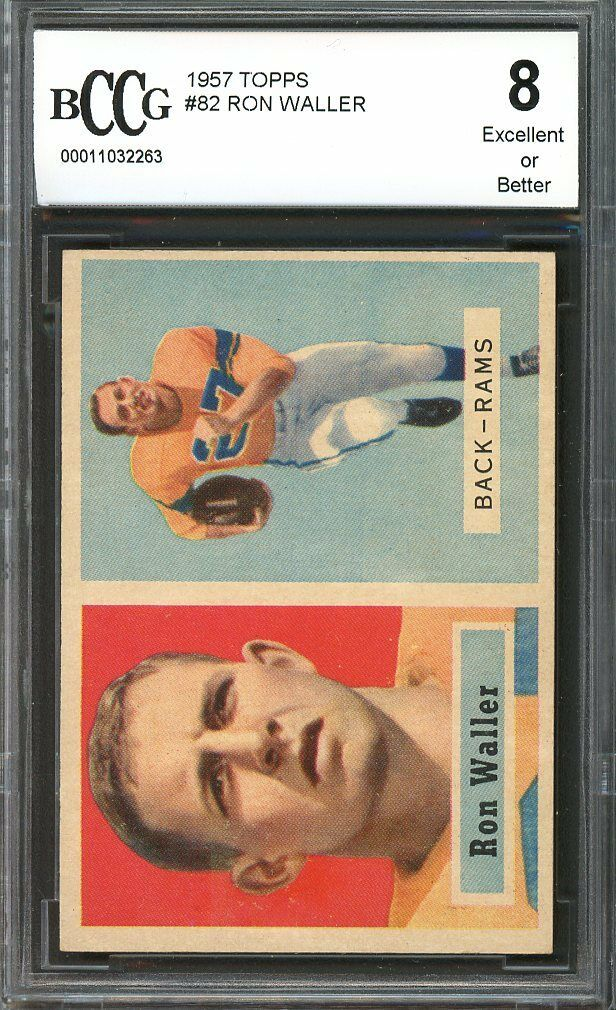 1957 topps #82 RON WALLER los angeles rams BGS BCCG 8
