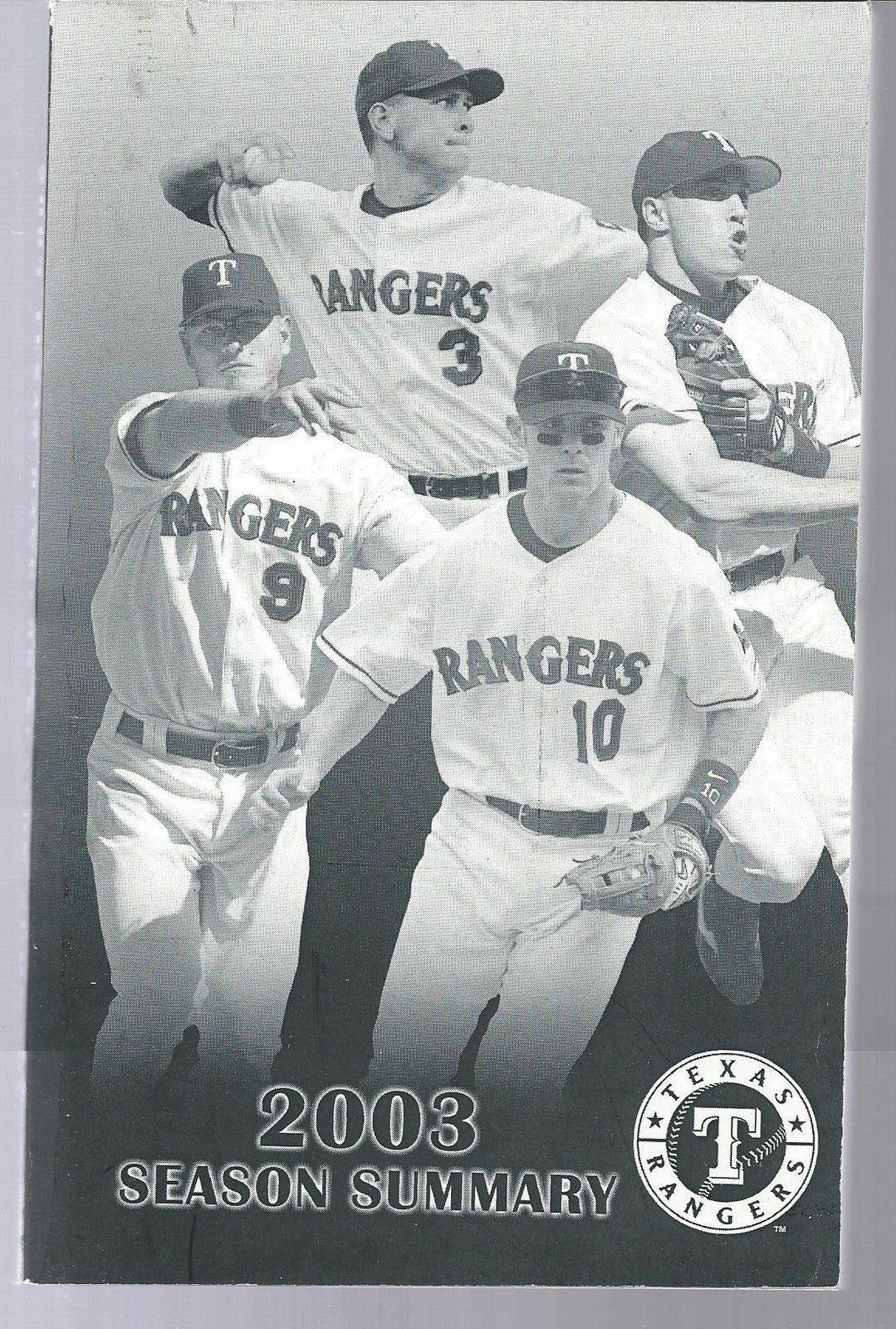 2003 Texas Rangers Baseball MLB Media Guide -  Post Season Summary Player Info