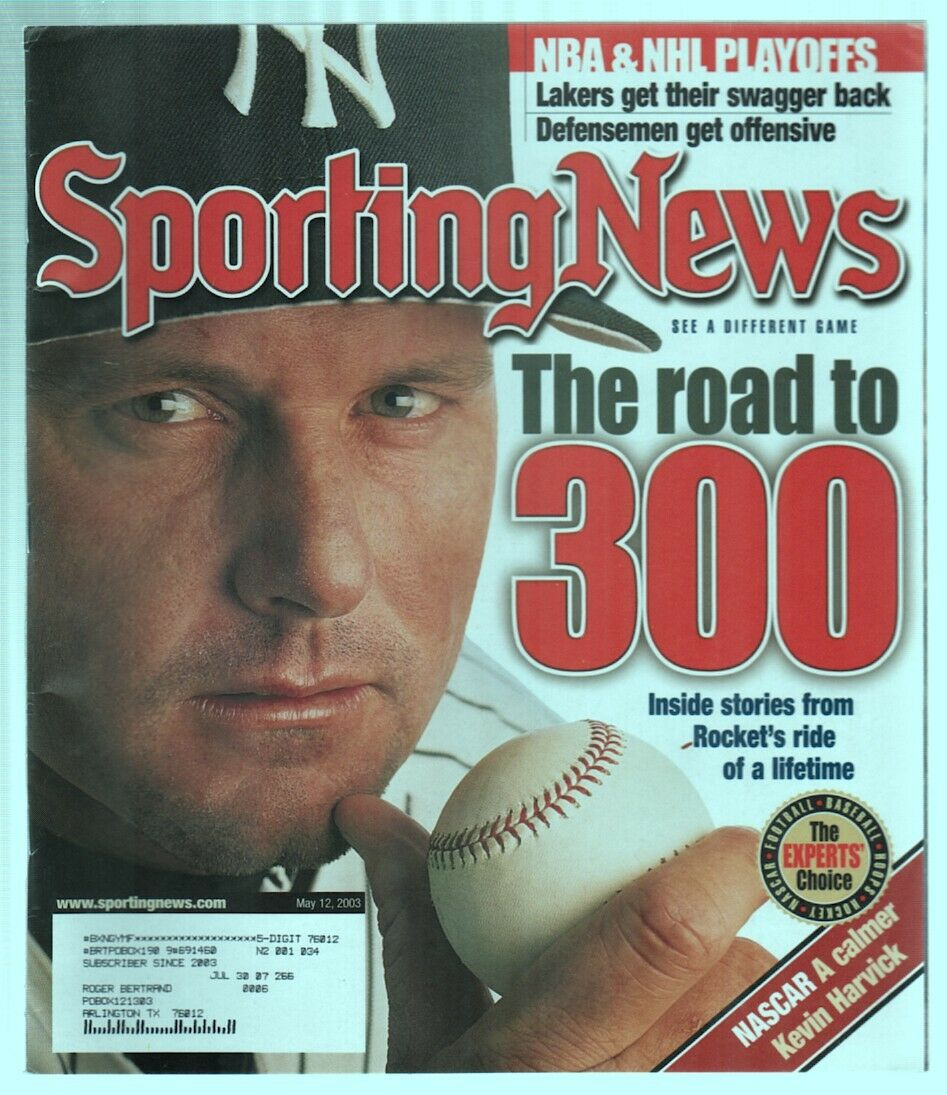 The Sporting News Magazine May 12, 2003 The Road to 300 Roger Clemens Cover G