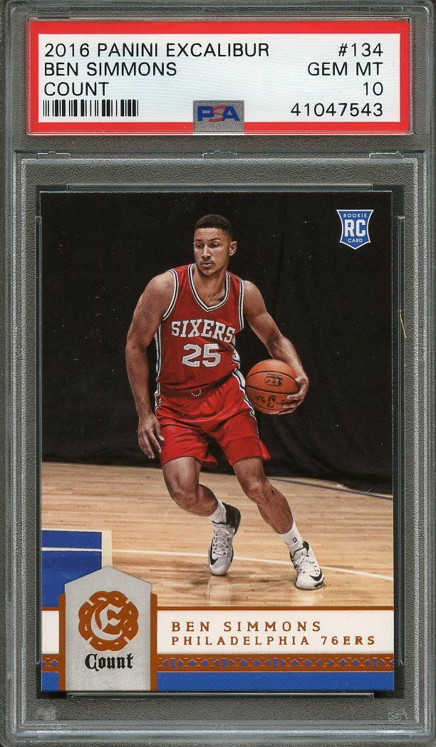 2016-17 panini excalibur count #134 BEN SIMMONS 76ers rookie card PSA 10