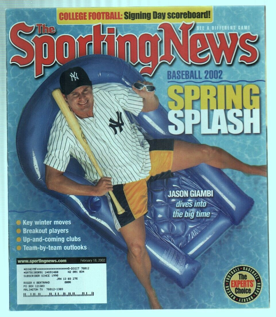 The Sporting News Magazine Feb 18, 2002 Spring Splash Jason Giambi Cover G