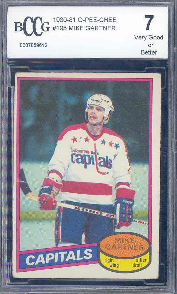 1980-81 o-pee-chee #195 MIKE GARTNER washington capitals rookie card BGS BCCG 7
