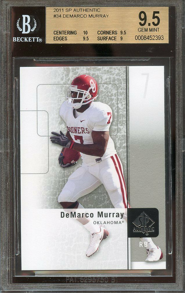2011 sp authentic #34 DEMARCO MURRAY cowboys rookie BGS 9.5 card (10 9.5 9.5 9)