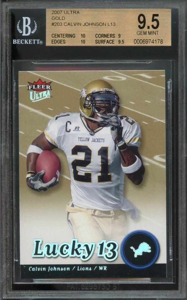 2007 ultra gold #203 CALVIN JOHNSON lucky 13 rookie BGS 10 9 9.5 10