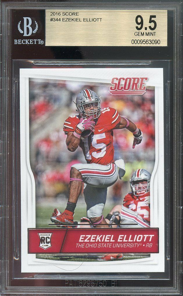 2016 score #344 EZEKIEL ELLIOTT dallas cowboys rookie card BGS 9.5
