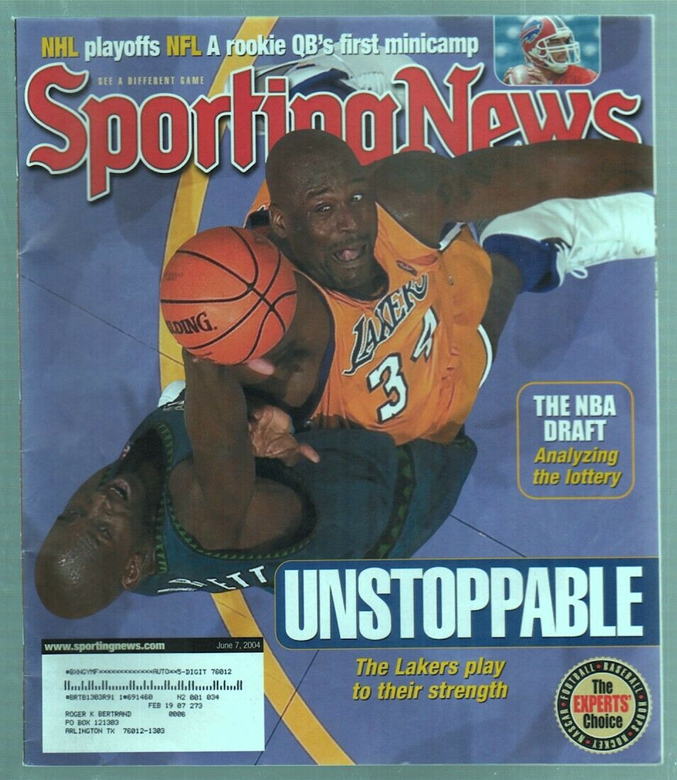 The Sporting News Magazine June 7, 2004 Unstoppable Shaq LA Lakers Cover G